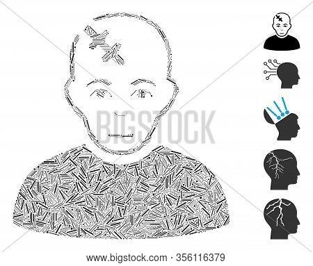 Hatch Mosaic Based On Head Hurt Icon. Mosaic Vector Head Hurt Is Designed With Random Hatch Elements