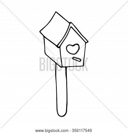 Cute Wooden Birdhouse. Heart Shaped Entrance. Black And White Illustration On A White Background In
