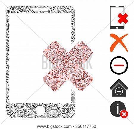 Dash Mosaic Based On Wrong Smartphone Icon. Mosaic Vector Wrong Smartphone Is Formed With Randomized