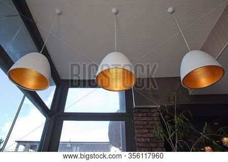 Ceiling Light Retro Style Hanging From Ceiling Of Industrial Modern Restaurant . Close Up Incandesce