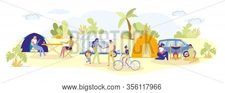 Summer Camping With Tents And Automobile Vans On Landscape Background. Adults And Children Cartoon C