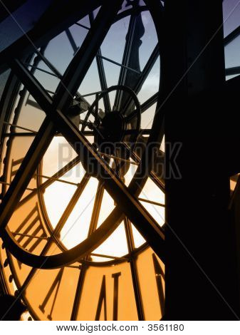 inside view of the clock of Orsay museum in Paris poster