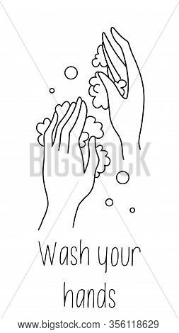 Wash Hands. Palms In Foam Soap Bubbles. Vector Illustration Flat Design Isolated On Background. Pers