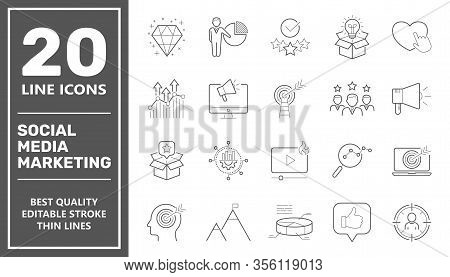 Social Media Marketing Icons, Smm Icons Set Collection. Includes Simple Elements Such As Content, Vi