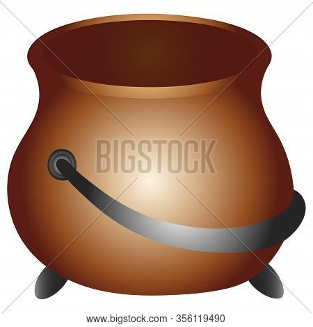 Color Vector Illustration. Empty Bowler Hat For Gold. Pot On An Isolated Background. Ceramic Pot Wit