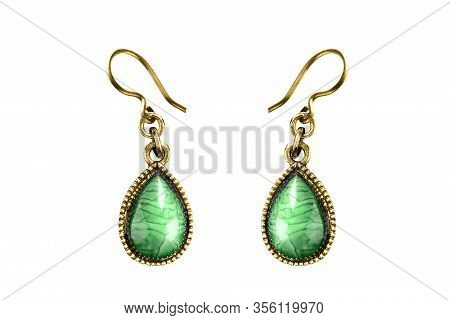 Elegant Vintage Drop Shaped Malachite Gold Earrings On White Background