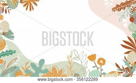 Floral Patterns Around Edges. Animation. Beautiful Animated Background With Delicate Plants Blooming