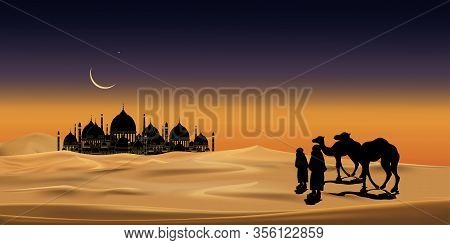 Vector Illustration Group Of Arab People With Camels Caravan Riding In Realistic Desert Sands, Carav