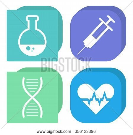 Chemistry And Medicine Icons, Flask And Syringe, Dna And Heart Vector. Pharmacy And Lab Experiments