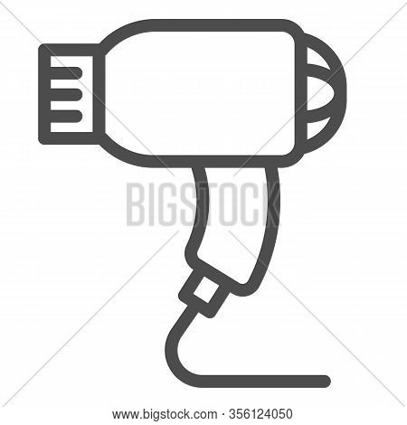 Hair Dryer Line Icon. Electric Blow-dryer, Drying With Hot Wind Symbol, Outline Style Pictogram On W