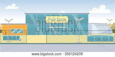 New Technology Fish Farm With Large Aquarium. Farm Divided Into Several Artificial Reservoir With Di