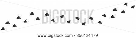 Footpath Trail Of Alien Over White Background. Vector Illustration