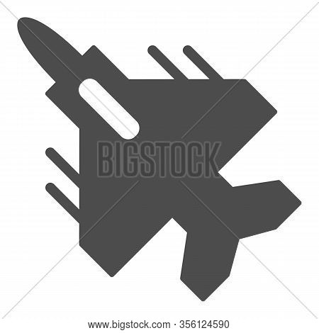 Airplane Fighter Solid Icon. War Aircraft With Rockets Symbol, Glyph Style Pictogram On White Backgr