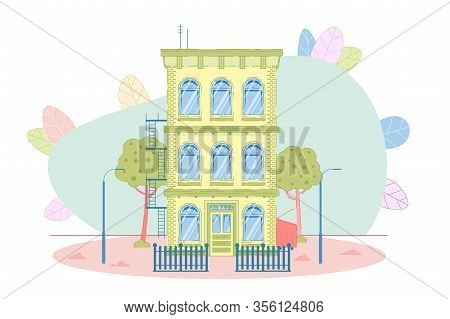 Flat Cozy Three-story House Condominium Private Apartment Detached Residential Building Construction