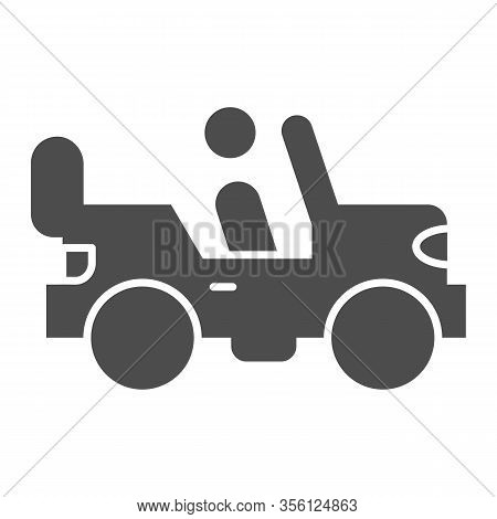 Army Vehicle Solid Icon. Offroad Rover With Person, Car And Soldier Symbol, Glyph Style Pictogram On