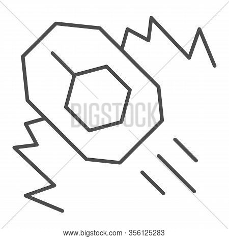 Tank Attack Thin Line Icon. War Battle Land Attack With Explosion And Vehicle Symbol, Outline Style