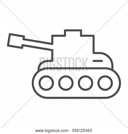 Tank Thin Line Icon. Army War Vehicle Silhouette Symbol, Outline Style Pictogram On White Background