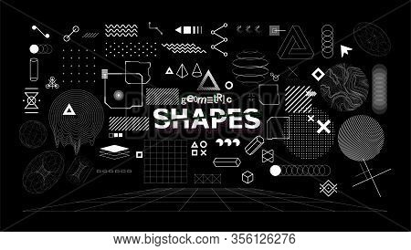 Stylish Geometric Shapes. Neo Memphis Design Elements For T-shirt And Merch Print. Abstract Collecti