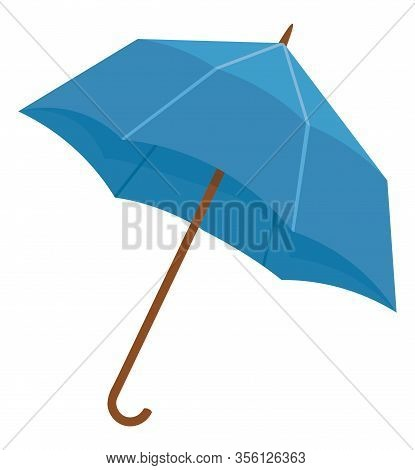 Blue Umbrella Or Parasol Isolated On White Background. Folding Canopy Supported By Metal Ribs Mounte