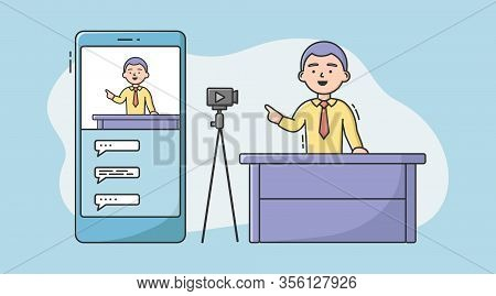 Video Blog Concept . Video Blogger Make A Vlog By Camera. Man Making Live Stream, Social Media Netwo