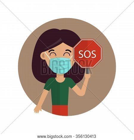 Woman In Medical Face Mask. Novel Coronavirus (2019-nov). Coronavirus In China. Vector Illustration.