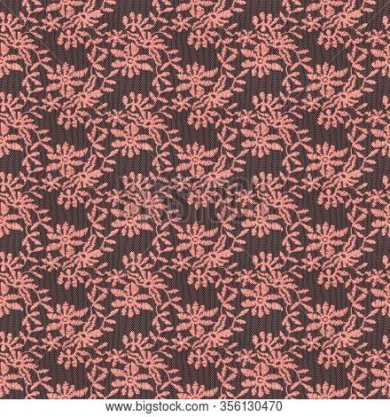 Seamless Pattern In The Form Of Coral Lace On A Black Background. Lace With Floral Motifs. Detailed