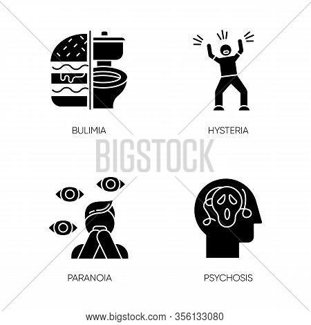 Mental Disorder Glyph Icons Set. Bulimia. Eating Disorder. Hysteria. Panic Attack. Anxiety, Depressi