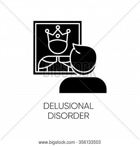Delusional Disorder Glyph Icon. Man In Mirror Reflection. Bizzare And False Beliefs. Optical Delusio