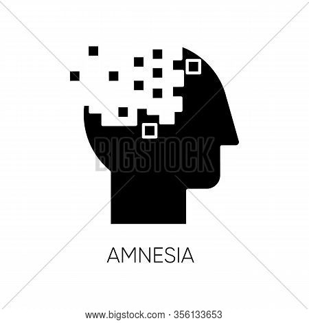 Amnesia Glyph Icon. Memory Loss. Forgetting From Brain Injury. Trouble With Remembering. Korsakoff S