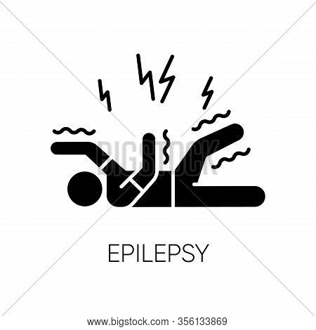 Epilepsy Glyph Icon. Convulsive Seizure. Shaking And Tremor. Movement Trouble. Epileptic Stroke. Abn