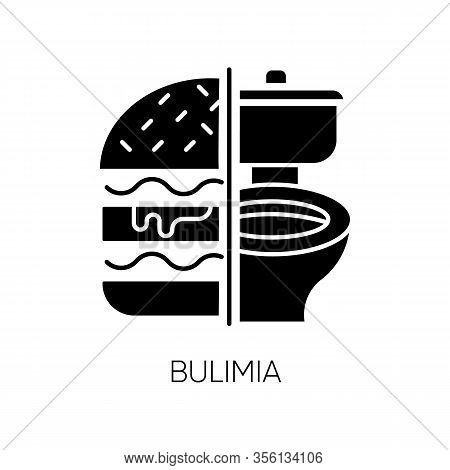 Bulimia Glyph Icon. Eating Disorder. Vomiting Food In Bathroom. Unhealthy Hunger. Binge Eating From