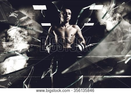 Portrait Of A Kickboxer Who Is Standing In The Ring. Sports Concept, Muay Thai. Mixed Media