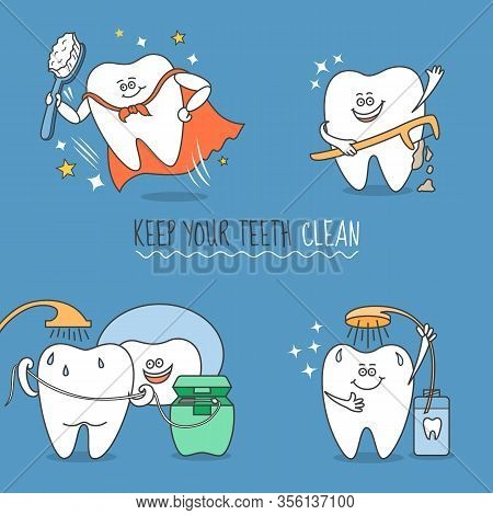 Teeth Cartoon Set. Tooth With Brush, Floss, Pick And Mouthwash. Keep Your Teeth Clean. Cute And Funn