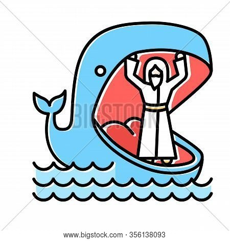 Jonah And Whale Blue Color Icon. Old Testament Story. Jonahs Miraculous Return From Jaws Of Huge Fis