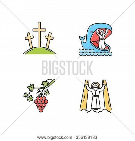 Bible Narratives Color Icons Set. Calvary, Jonah And Whale, Grapevine, Ascension Of Jesus Christ. Ch