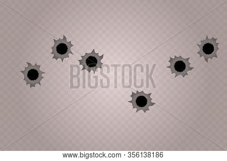 Bullet Holes Isolated. Realistic Gun Weapon Bullet Hole Isolated On Transparent Background.