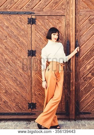 High Waisted Trousers. Woman Attractive Brunette Wear Fashionable Clothes. Femininity And Emphasize