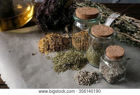 Homemade Apothecary. Natural Herbs Medicinal. Dried Herbs In Glass Jars. Various Kinds Of Herbal Tea
