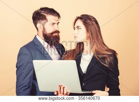 Business Meeting. Man Bearded Manager Show Financial Report Laptop. Discussing Progress. Woman And G