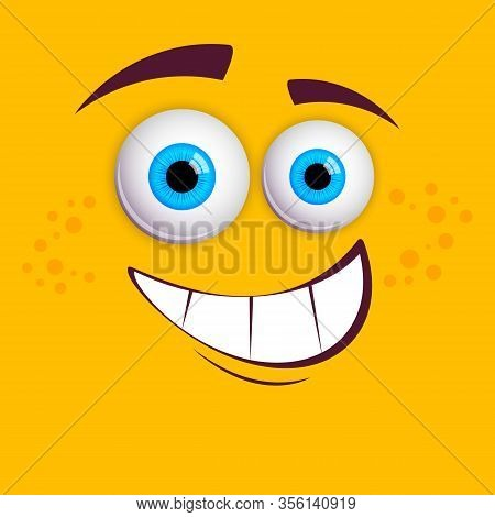 Expressive Eyes And Mouth, Character Face Expressions.  Isolated Vector Illustration On Yellow Backg