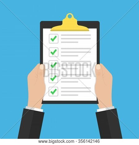 In Hand Checklist Or Document With Green Checkmarks. Application Form, Completed Tasks, To-do List,