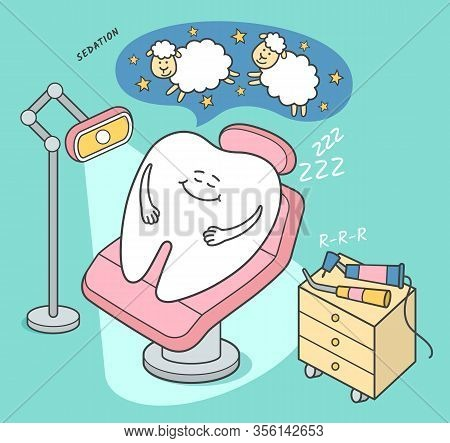 Stomatology Sedation Illustration. Cartoon Tooth Falls Asleep In A Dental Chair. General Anesthesia.
