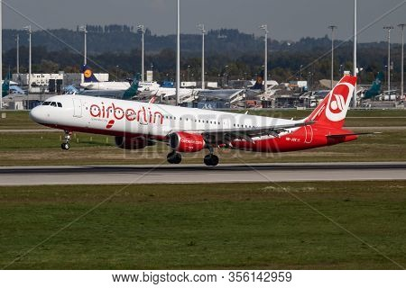 Munich / Germany - October 4, 2017: Air Berlin Airbus A321 Oe-jox Passenger Plane Arrival And Landin