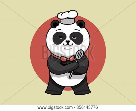 Super Chef Logo, Cooking Template, The Hero Proudly Folded His Paws. Funny Panda Character, Logotype