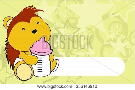 Cute Baby Porcupine Cartoon Holding A Bottle Background In Vector Format