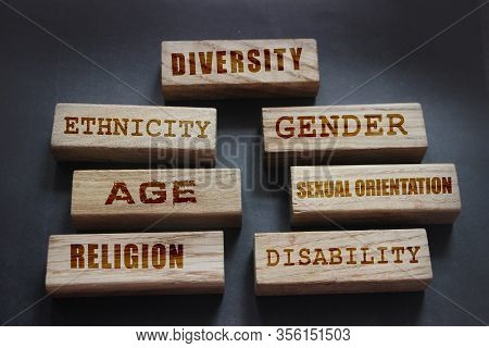 Diversity Ethnicity Gender Age Sexual Orientation Religion Disability Words Written On Wooden Block.