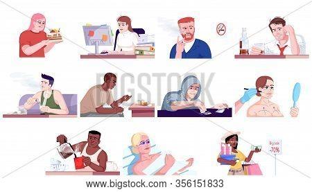Addiction Flat Vector Illustrations Set. Gluttony, Workaholism, Alcoholism, Narcomania, Plastic Surg