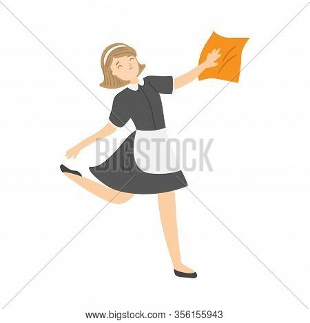 Happy Smiling Housemaid With A Cleaning Rag. Vector Illustration In Flat Cartoon Style.