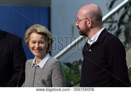 Sofia, Bulgaria - 3 March, 2020: Eu Commission President Ursula Von Der Leyen And Eu Council Preside