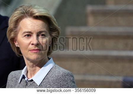 Sofia, Bulgaria - 3 March, 2020: Eu Commission President Ursula Von Der Leyen Gives A Press Conferen